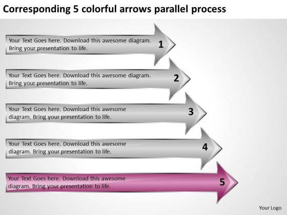 Corresponding 5 Colorful Arrows Parallel Process Ppt Linear Flow PowerPoint Templates