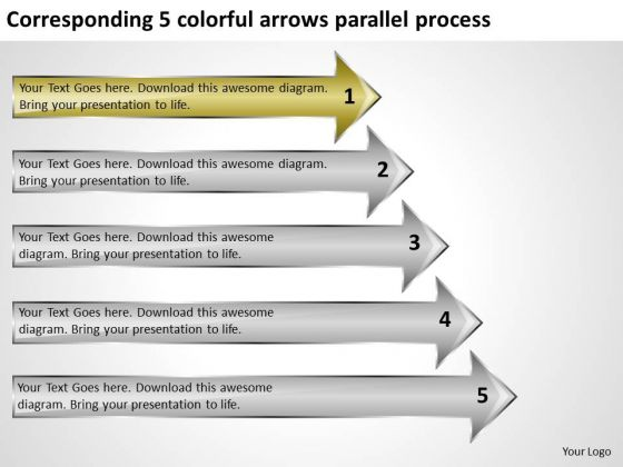 Corresponding 5 Colorful Arrows Parallel Process Spa Business Plan PowerPoint Templates