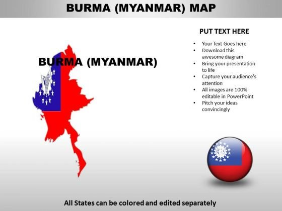 Country PowerPoint Maps Burma Myanmar