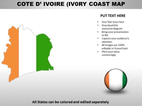 Country PowerPoint Maps Cote Divory Ivory Coast