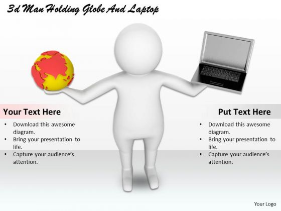 Creative Marketing Concepts 3d Man Holding Globe And Laptop Characters