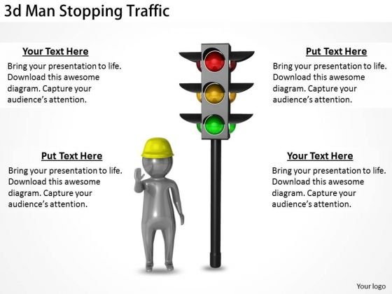 Creative Marketing Concepts 3d Man Stopping Traffic Business Statement