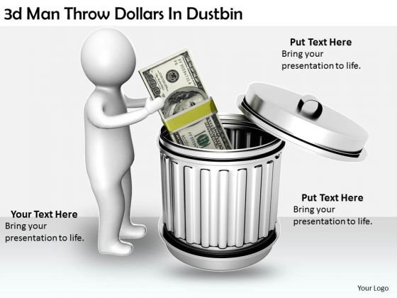 Creative Marketing Concepts 3d Man Throw Dollars Dustbin Characters