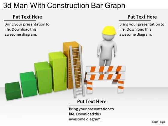 Creative Marketing Concepts 3d Man With Construction Bar Graph Characters