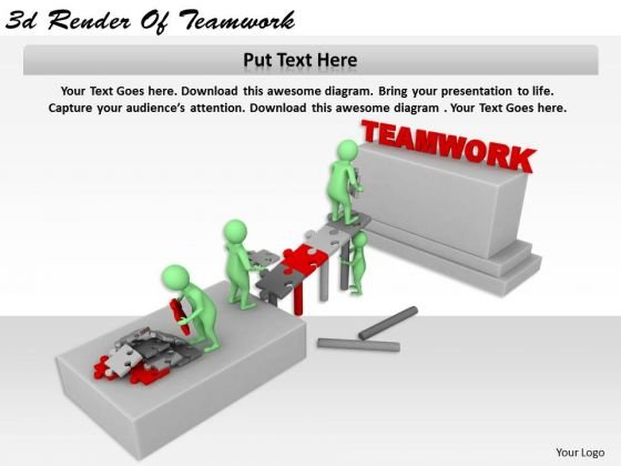Creative Marketing Concepts 3d Render Of Teamwork Character