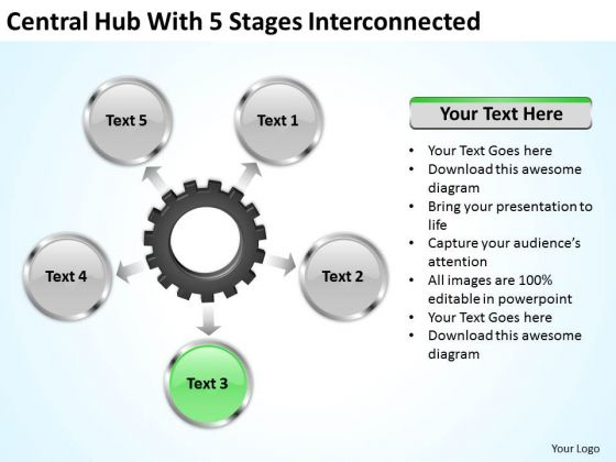 Creative Marketing Concepts Central Hub With 5 Stages Iterconnected Business Growth Strategy