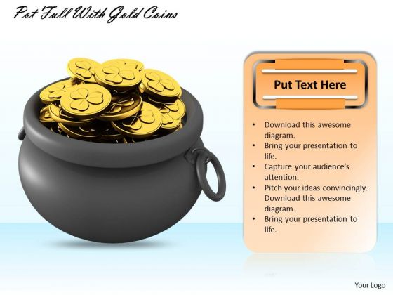 Creative Marketing Concepts Pot Full With Gold Coins Business Pictures Images