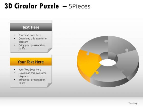 Creativity 3d Circular Puzzle 5 Pieces PowerPoint Slides And Ppt Diagram Templates