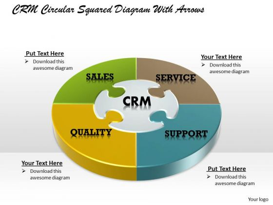 Crm Circular Squared PowerPoint Presentation Template