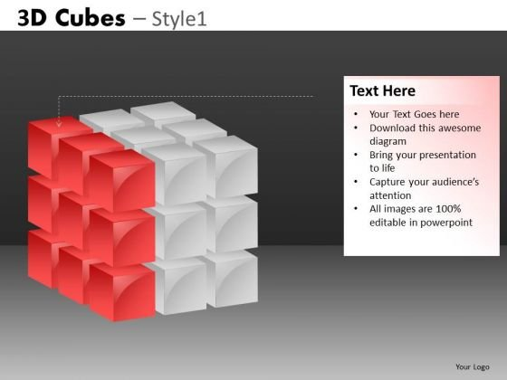 Cube Diagram Left Layer PowerPoint Templates
