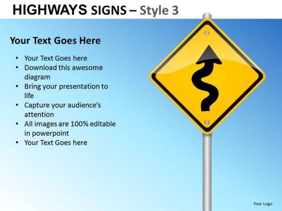 curve in road signs 3 powerpoint slides and ppt diagram templates, Powerpoint templates