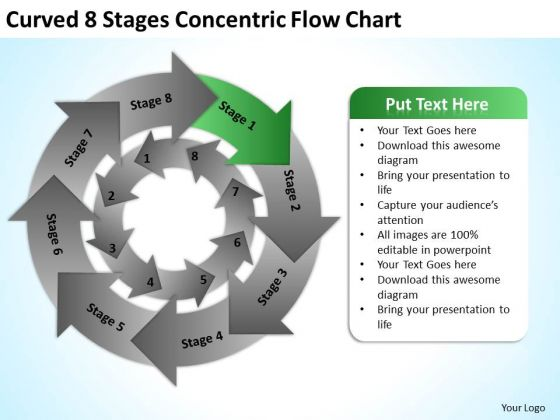 Curved 8 Stages Concentric Flow Chart Business Plan PowerPoint Templates