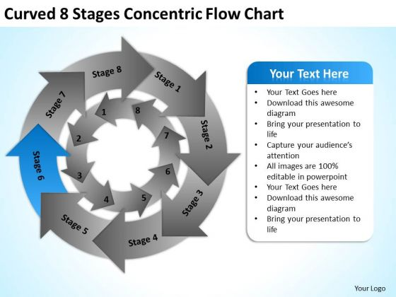 Curved 8 Stages Concentric Flow Chart Ppt Business Plan For PowerPoint Slides