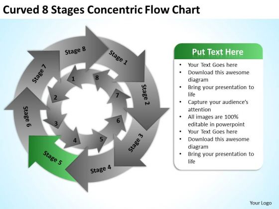 Curved 8 Stages Concentric Flow Chart Ppt Business Plan PowerPoint Slide
