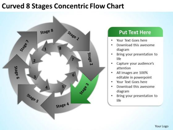 Curved 8 Stages Concentric Flow Chart Ppt Business Plan PowerPoint Slides
