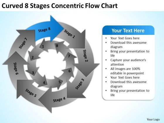 Curved 8 Stages Concentric Flow Chart Ppt Business Plan PowerPoint Template