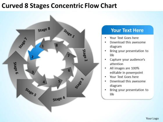 Curved 8 Stages Concentric Flow Chart Ppt Business Plan PowerPoint Templates