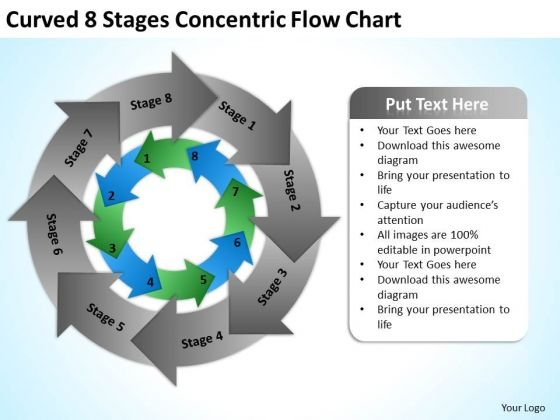 Curved 8 Stages Concentric Flow Chart Ppt Business Plan Sample Template PowerPoint Slides