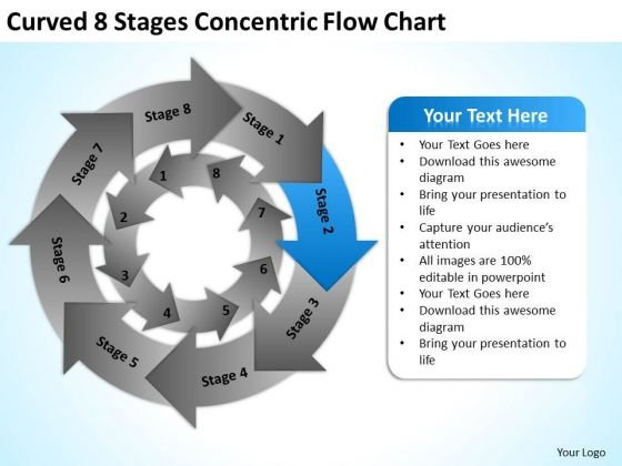 Curved 8 Stages Concentric Flow Chart Ppt Business Plans PowerPoint Templates