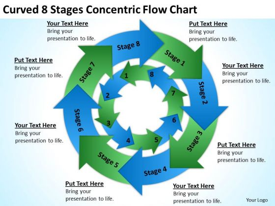 Curved 8 Stages Concentric Flow Chart Ppt Format Business Plan PowerPoint Slides