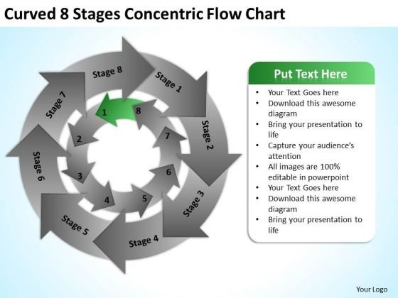 Curved 8 Stages Concentric Flow Chart Ppt Small Business Plan PowerPoint Slides