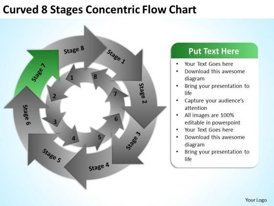 Curved 8 Stages Concentric Flow Chart Small Business Plan PowerPoint Slides