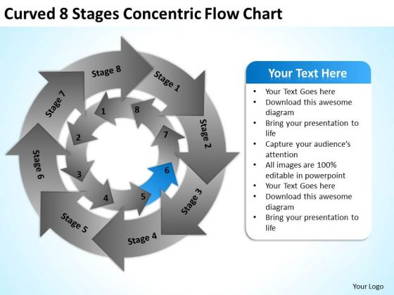 Curved 8 Stages Concentric Flow Chart Strategic Business Plan PowerPoint Templates