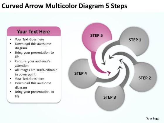 Curved Arrow Multicolor Diagram 5 Steps Ppt Agriculture Business Plan PowerPoint Slides