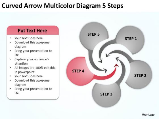 Curved Arrow Multicolor Diagram 5 Steps Writing Business Plan Template PowerPoint Slides