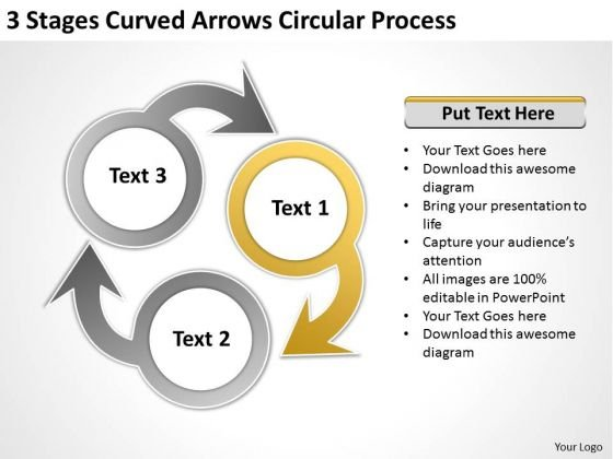 Curved Arrows Circular Process Professional Business Plan Writers PowerPoint Templates