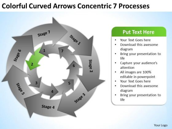 Curved Arrows Concentric 7 Processess Business Plan PowerPoint Templates