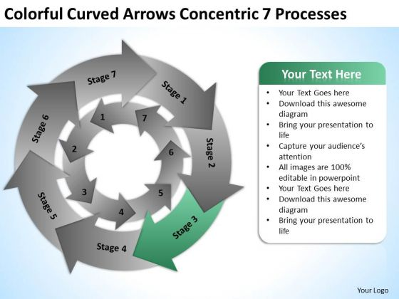 Curved Arrows Concentric 7 Processess Ppt Formulating Business Plan PowerPoint Templates