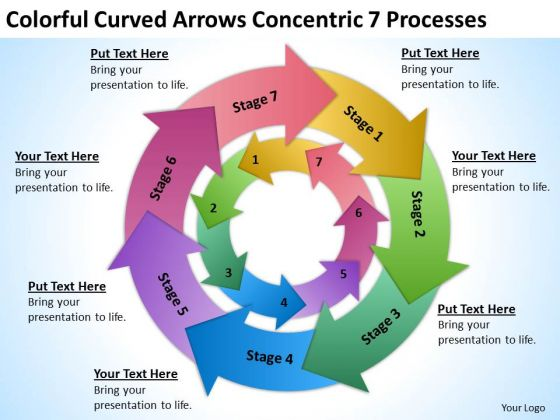 Curved Arrows Concentric 7 Processess Ppt Sample Nonprofit