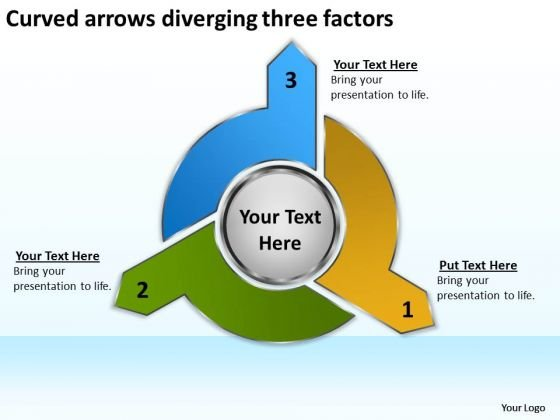 Curved Arrows Diverging Three Factors Diagram Software PowerPoint Templates
