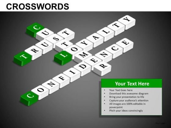 Customer Trust Loyalty Confidence Crosswords PowerPoint Templates