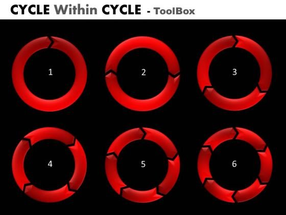 Cycle Charts Process Diagrams 1 To 6 Stages PowerPoint Templates