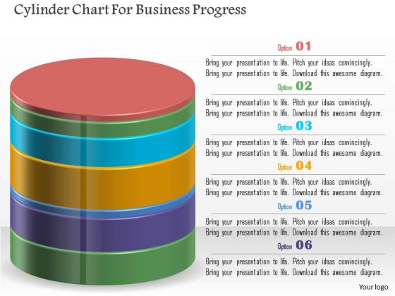 Cylinder Chart For Business Progress PowerPoint Template