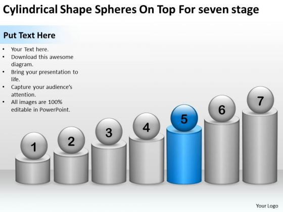 Cylindrical Shape Spheres On Top For Seven Stage Ppt Insurance Business Plan PowerPoint Slides
