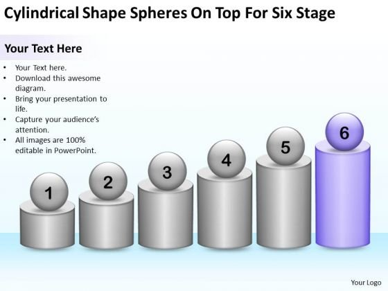 Cylindrical Shape Spheres On Top For Six Stage Ppt Business Plan Models PowerPoint Slides