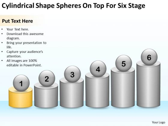 Cylindrical Shape Spheres On Top For Six Stage Ppt Linear Flow PowerPoint Slides
