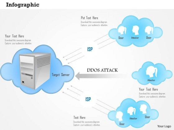 DDOS Attacker For Target Server Powerpoint Template