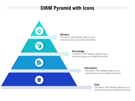DIKM Pyramid With Icons Ppt PowerPoint Presentation Portfolio Rules PDF