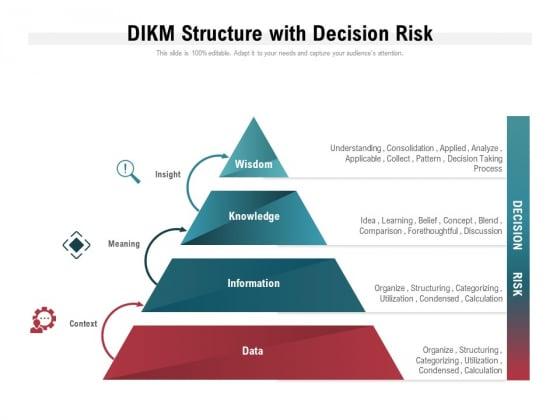 DIKM Structure With Decision Risk Ppt PowerPoint Presentation Slides Graphics Download PDF