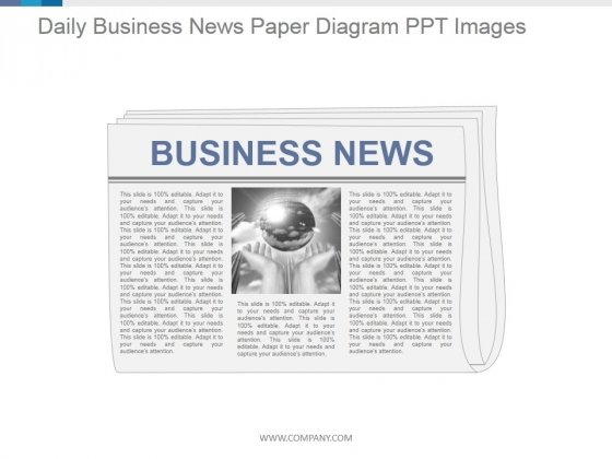 Daily Business News Paper Diagram Ppt PowerPoint Presentation Deck
