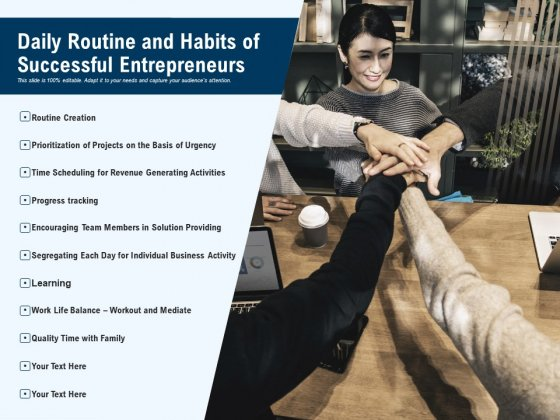 Daily Routine And Habits Of Successful Entrepreneurs Ppt PowerPoint Presentation Show Visual Aids PDF