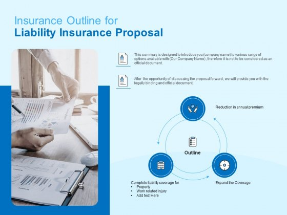 Damage Security Insurance Proposal Insurance Outline For Liability Insurance Proposal Ppt Visual Aids Show PDF