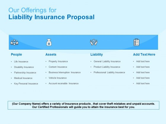 Damage Security Insurance Proposal Our Offerings For Liability Insurance Proposal Ppt Show Ideas PDF