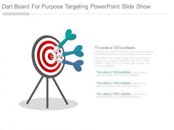 Dart Board For Purpose Targeting Powerpoint Slide Show