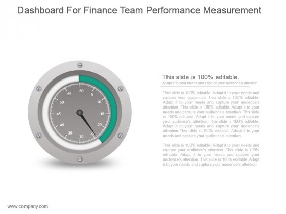 Dashboard For Finance Team Performance Measurement Ppt Icon