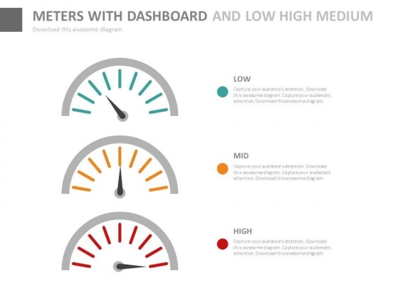 Dashboard With Low High Medium Indication Powerpoint Slides